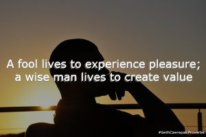 A fool lives to experience pleasure; a wise man lives to create value