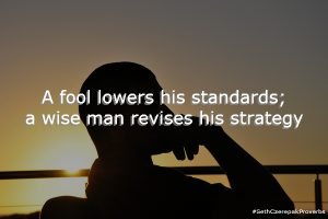A fool lowers his standards; a wise man revises his strategy.