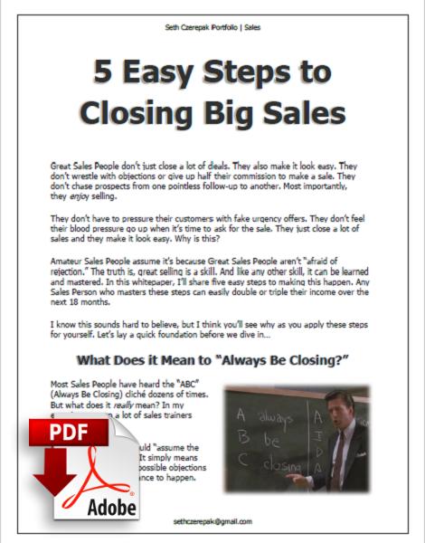 Seth Czerepak Copywriting Portfolio - Sales